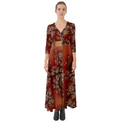 Fractal Rendering Pattern Abstract Button Up Boho Maxi Dress