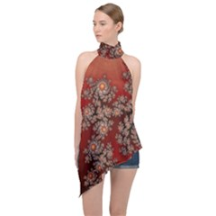 Fractal Rendering Pattern Abstract Halter Asymmetric Satin Top by Pakrebo