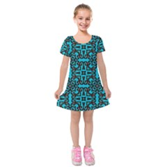 Pattern Seamless Ornament Abstract Kids  Short Sleeve Velvet Dress