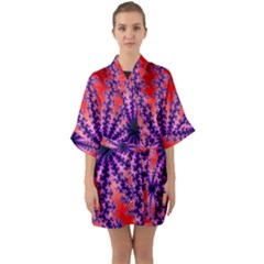 Fractal Abstract Background Spiral Quarter Sleeve Kimono Robe