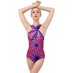 Fractal Abstract Background Spiral Cross Front Low Back Swimsuit