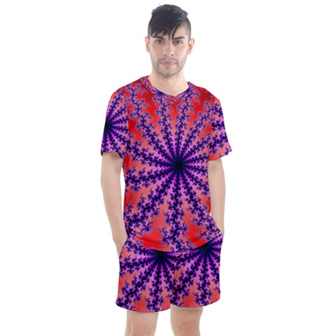 Fractal Abstract Background Spiral Men s Mesh Tee And Shorts Set by Pakrebo