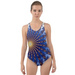 Fractal Spiral Curve Abstraction Cut Out Back One Piece Swimsuit by Pakrebo