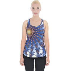 Fractal Spiral Curve Abstraction Piece Up Tank Top