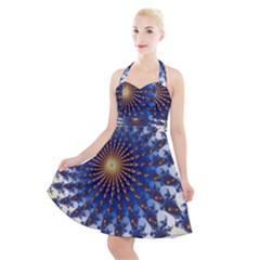 Fractal Spiral Curve Abstraction Halter Party Swing Dress