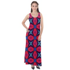 Seamless Wallpaper Digital Pattern Red Blue Sleeveless Velour Maxi Dress