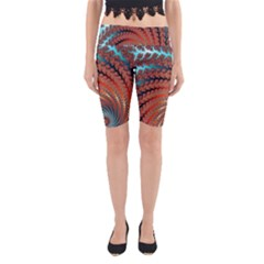 Fractal Spiral Abstract Design Yoga Cropped Leggings