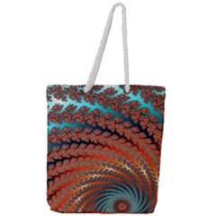 Fractal Spiral Abstract Design Full Print Rope Handle Tote (large)