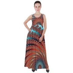 Fractal Spiral Abstract Design Empire Waist Velour Maxi Dress by Pakrebo