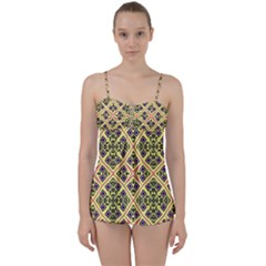 Seamless Wallpaper Geometric Yellow Babydoll Tankini Set