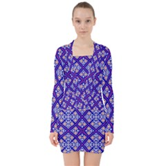 Symmetry Digital Art Pattern Blue V Neck Bodycon Long Sleeve Dress