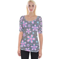 Seamless Pattern Flowers Pink Wide Neckline Tee