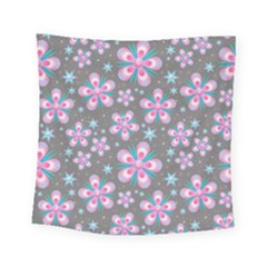 Seamless Pattern Flowers Pink Square Tapestry (small) by Pakrebo