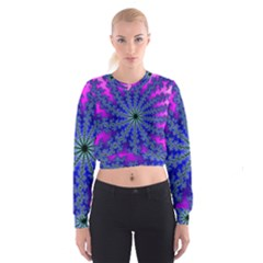 Fractal Abstract Background Digital Cropped Sweatshirt