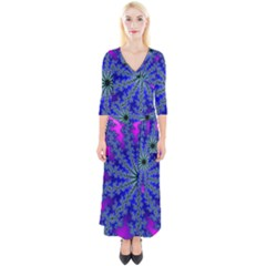 Fractal Abstract Background Digital Quarter Sleeve Wrap Maxi Dress