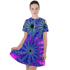 Fractal Abstract Background Digital Short Sleeve Shoulder Cut Out Dress