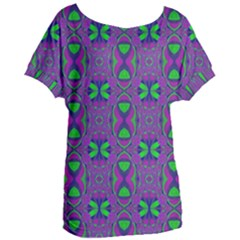 Seamless Wallpaper Pattern Ornament Green Purple Women s Oversized Tee by Pakrebo