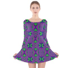 Seamless Wallpaper Pattern Ornament Green Purple Long Sleeve Velvet Skater Dress