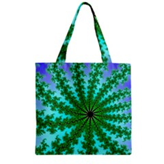 Fractal Abstract Rendering Zipper Grocery Tote Bag