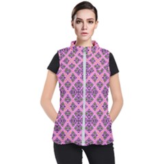 Seamless Wallpaper Geometric Pink Women s Puffer Vest