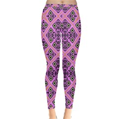 Seamless Wallpaper Geometric Pink Inside Out Leggings