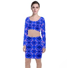 Seamless Fractal Blue Wallpaper Top And Skirt Sets by Pakrebo