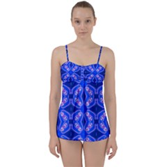 Seamless Fractal Blue Wallpaper Babydoll Tankini Set