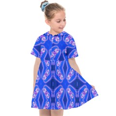 Seamless Fractal Blue Wallpaper Kids  Sailor Dress by Pakrebo