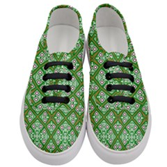 Symmetry Digital Art Pattern Green Women s Classic Low Top Sneakers