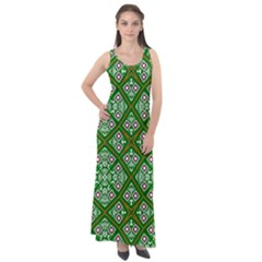 Symmetry Digital Art Pattern Green Sleeveless Velour Maxi Dress