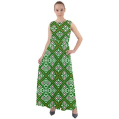 Symmetry Digital Art Pattern Green Chiffon Mesh Maxi Dress