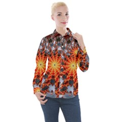 Fractal Rendering Spiral Twist Art Women s Long Sleeve Pocket Shirt