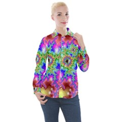 Fractals Abstraction Space Women s Long Sleeve Pocket Shirt