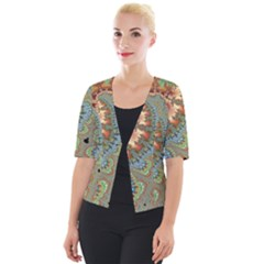 Fractal Rendering Pattern Abstract Cropped Button Cardigan by Pakrebo