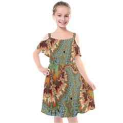 Fractal Rendering Pattern Abstract Kids  Cut Out Shoulders Chiffon Dress