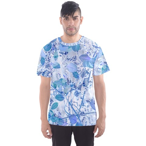 Cyan Floral Print Men s Sports Mesh Tee by dflcprintsclothing