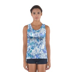 Cyan Floral Print Sport Tank Top  by dflcprintsclothing