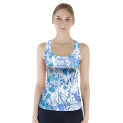 Cyan Floral Print Racer Back Sports Top by dflcprintsclothing