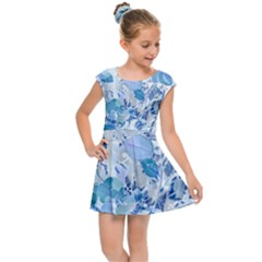 Cyan Floral Print Kids  Cap Sleeve Dress by dflcprintsclothing