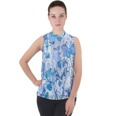 Cyan Floral Print Mock Neck Chiffon Sleeveless Top by dflcprintsclothing
