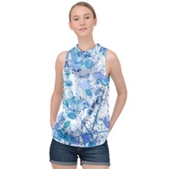 Cyan Floral Print High Neck Satin Top by dflcprintsclothing