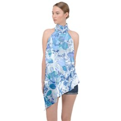 Cyan Floral Print Halter Asymmetric Satin Top by dflcprintsclothing