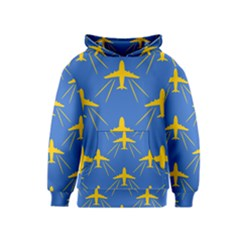 Aircraft Texture Blue Yellow Kids  Pullover Hoodie
