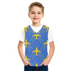 Aircraft Texture Blue Yellow Kids  Sportswear by Pakrebo