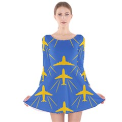 Aircraft Texture Blue Yellow Long Sleeve Velvet Skater Dress