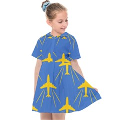 Aircraft Texture Blue Yellow Kids  Sailor Dress by Pakrebo
