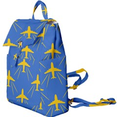 Aircraft Texture Blue Yellow Buckle Everyday Backpack
