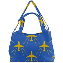 Aircraft Texture Blue Yellow Double Compartment Shoulder Bag