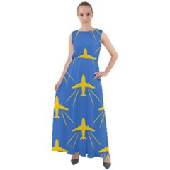 Aircraft Texture Blue Yellow Chiffon Mesh Maxi Dress