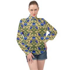 Pattern Thistle Structure Texture High Neck Long Sleeve Chiffon Top